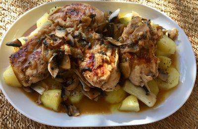 Filets de poulet sauce au vin blanc et portobello