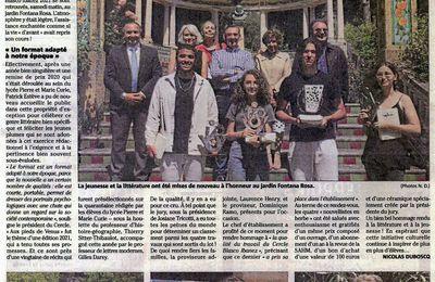 Article du journal Nice-Matin au sujet de la remise des prix du concours de la nouvelle 2021