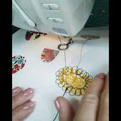 Stitching freemotion machine embroidery flowers by Helen Newton
