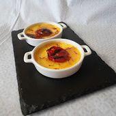 Crème brulée au safran et au chorizo grillé