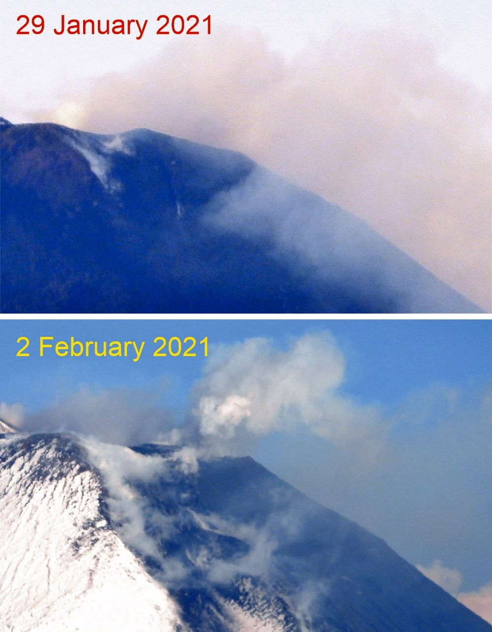 Etna - changes in the new SEC scoria cone in 4 days, between January 29 and February 2, 2021. - Doc. Boris Behncke
