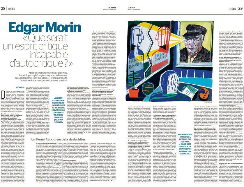 Edgar MORIN, sociologue et philosophe, analyse le raidissement des antagonismes entre deux France – l'une humaniste, l'autre identitaire, dans un entretien au « Monde » daté du 21 novembre 2020