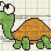 Grille gratuite point de croix : Petite tortue 2 - Le blog de Isabelle