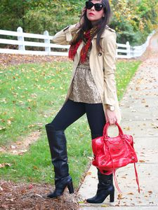 Trench Coat With a Splash of Red