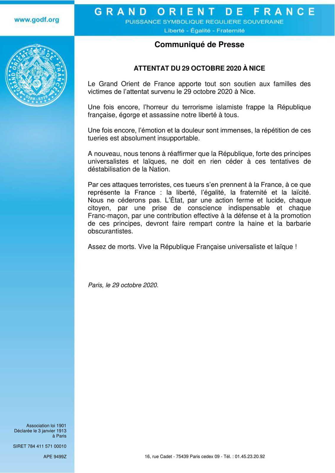 Attentat du 29 octobre 2020 à Nice : communiqué du Grand Orient de France
