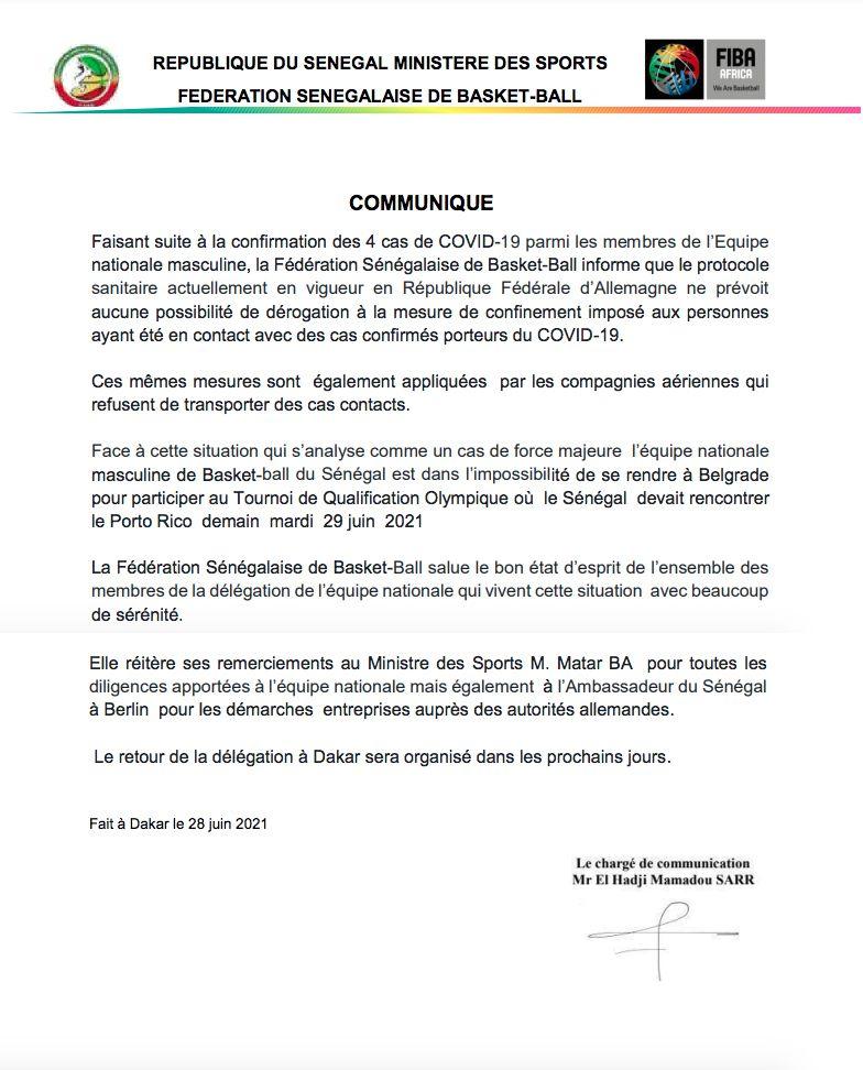 Le Sénégal déclare forfait pour le Tournoi de Qualification Olympique (TQO)