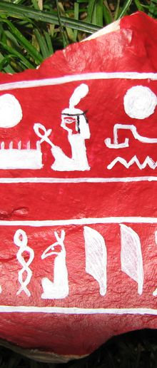 Noms du pharaon Sethy 1er - peinture acrylique sur pierre