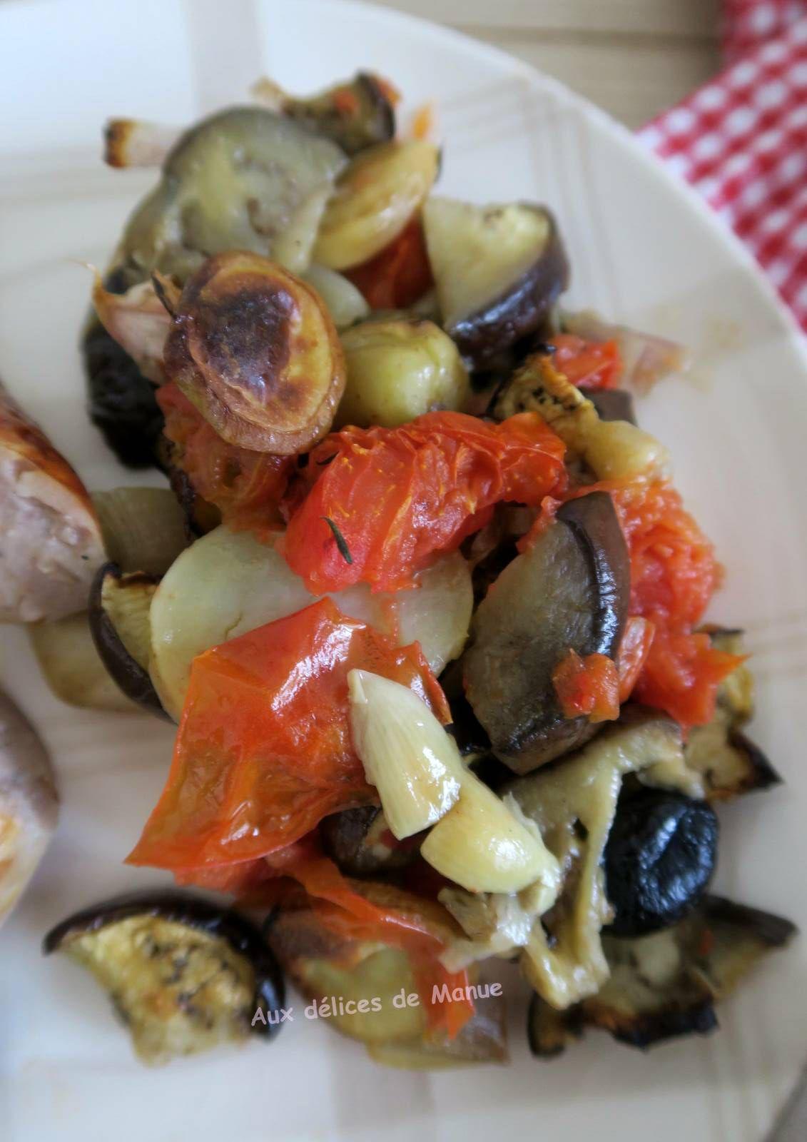 Saucisse de Toulouse et légumes au four
