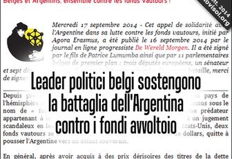 Leader politici belgi sostengono la battaglia dell'Argentina contro i fondi avvoltoio
