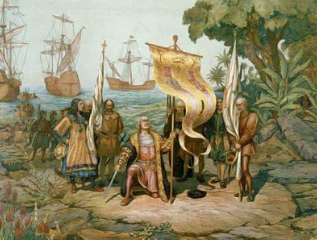 Réplique de la caravelle Nina affrétée par Christophe Colomb en 1492. Arrivée de Christophe Colomb en Amérique, le 12 octobre 1492. Documents : Anonyme – Library of Congress.