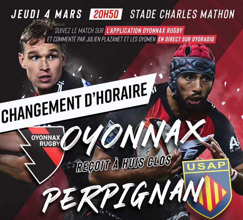 Sur quelle chaîne suivre Oyonnax / Perpignan ce jeudi ?