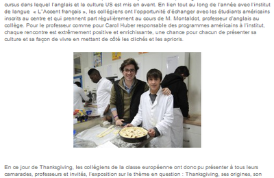 Article Midi Libre sur la Journée Thanksgiving