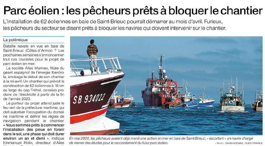 Les pêcheurs prêts à bloquer le chantier éolien !