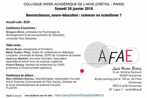 Colloque AFAE - Neurosciences, neuro-éducation : sciences ou scientisme ? 20 janvier 2018