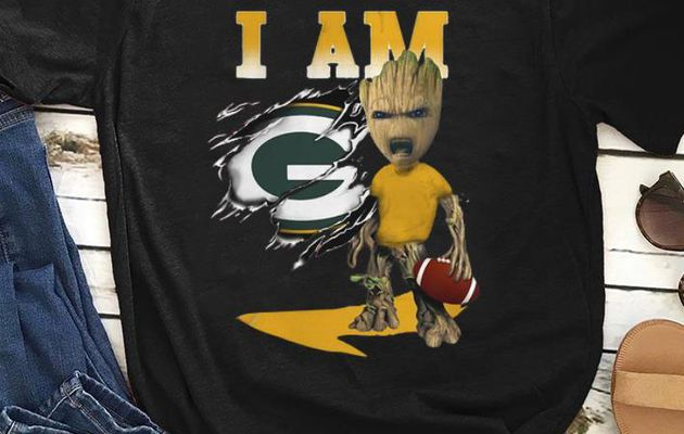 Top Baby Groot I Am Green Bay Packers shirt