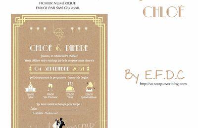 Faire part digital report mariage (covid) : le faire part de Chloé & Pierre ... Rétro, Charleston, année folle