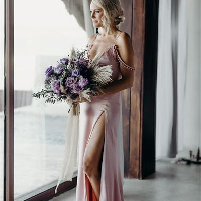 Blush-colored wedding gowns are gaining recognition: See Malin Akerman's look