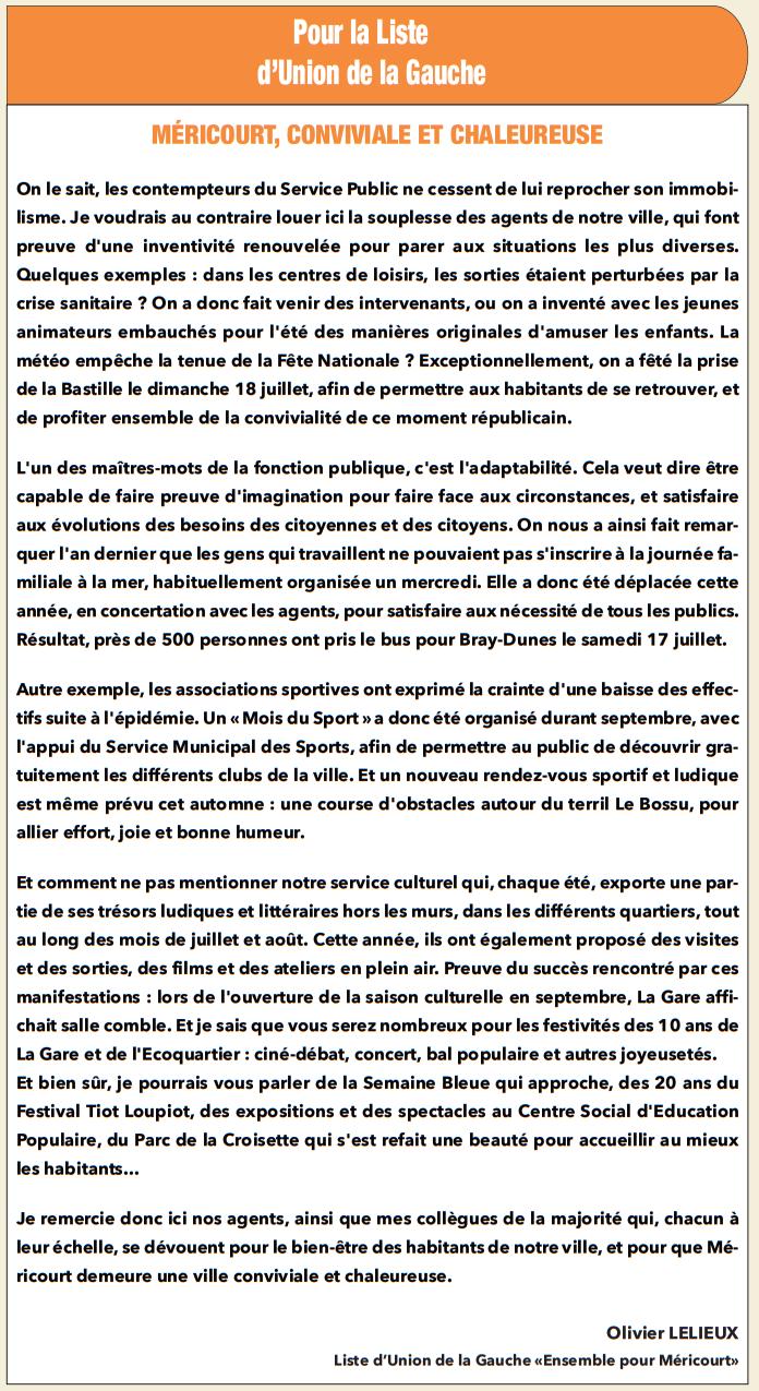 La tribune libre du groupe majoritaire (Méricourt notre ville, octobre 2021)