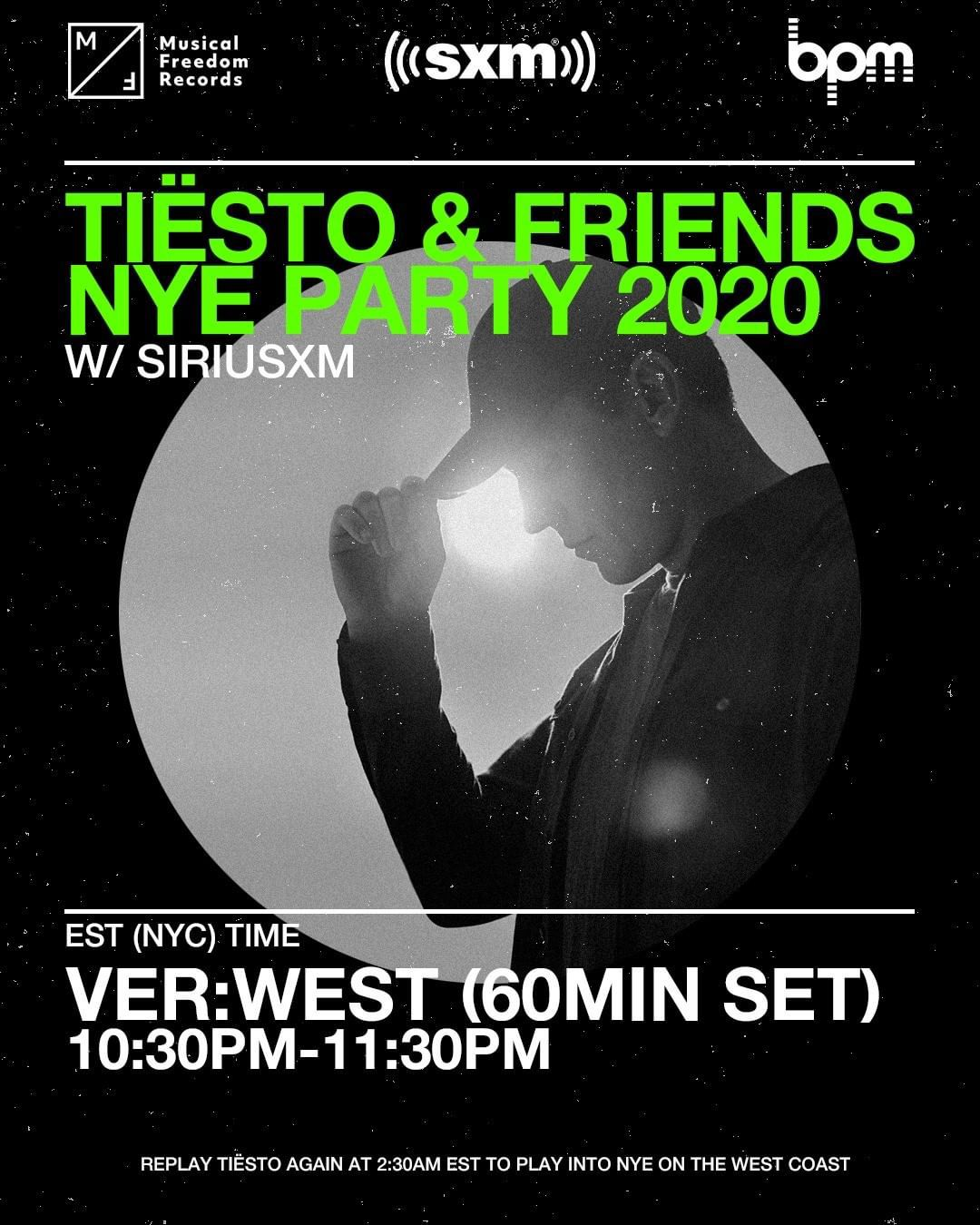 Tiësto and friends, New Year 2020 on Sirius Xm