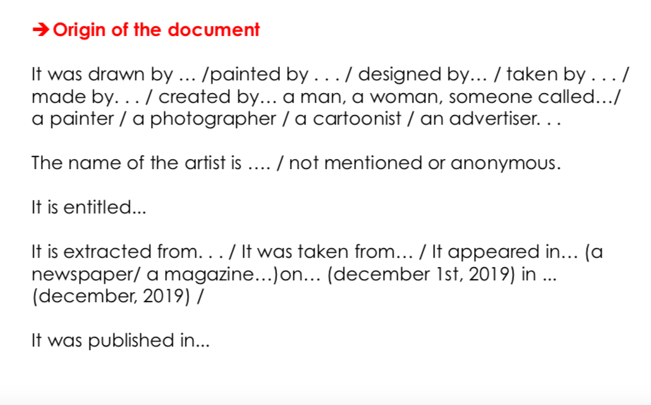 ANALYSING A VISUAL DOCUMENT