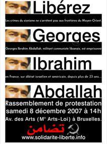 Comité Solidarité/Liberté - Rassemblement pour la libération de Georges Ibrahim Abdallah à Bruxelles - 8 décembre à 13H