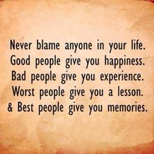 Never blame anyone in your life..