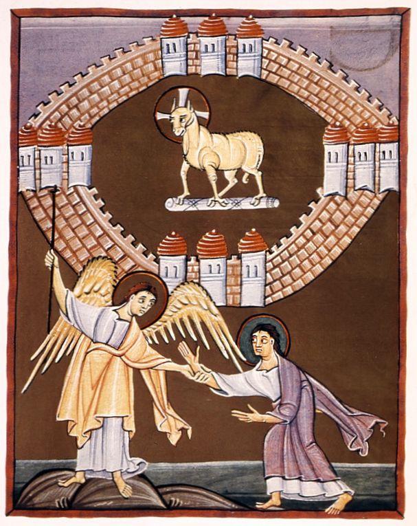 Manuscrit du début du XIe siècle, conservé à la Bibliothèque d'État de Bamberg (Msc.Bibl.140). Source des images : Wikimedia Commons.