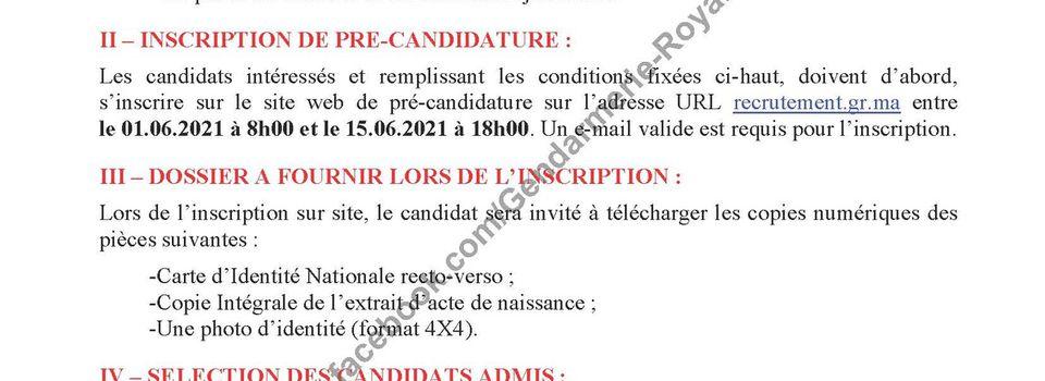 Avis de Concours de Recrutement Gendarmerie Royale 2021