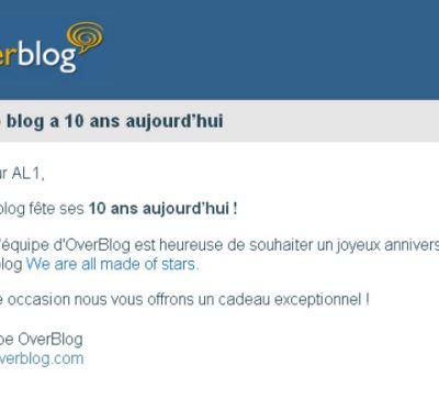 2005 - 2015... AL1web, 10 ans de présence sur Over-Blog !