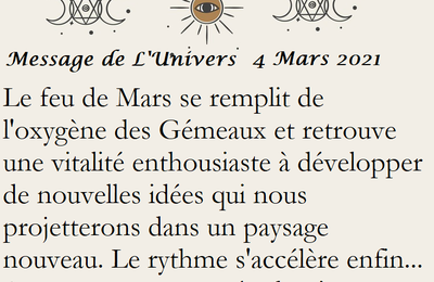 MESSAGES DE L'UNIVERS Du 4 mars 2021