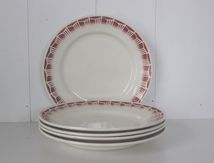 Lot de 5 assiettes plates décor bordeaux Vintage