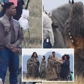 First look at Star Wars 9 as John Boyega and Oscar Isaac are pictured with Chewbacca at secret location in the UK