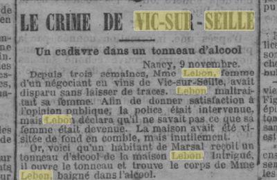 09 Novembre 1890 : Un crime à Vic sur Seille