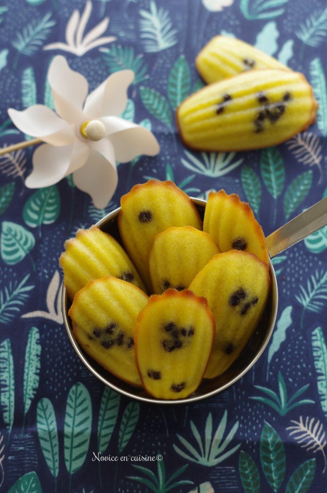 Moelleux fleur d'oranger/chocolat en forme de madeleines