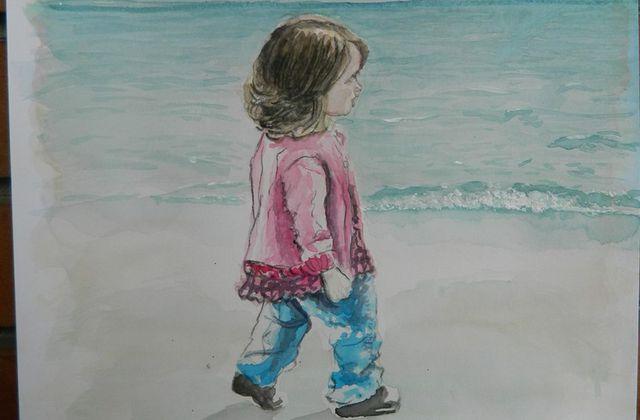 Zoé sur la plage.