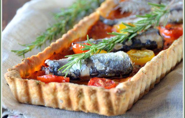 Tarte au soleil [tomates cerises & sardines] et le fond de tarte qui va bien avec...