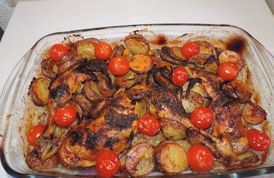 Cuisses de poulet , Pdt et tomates cerises rôties aux herbes
