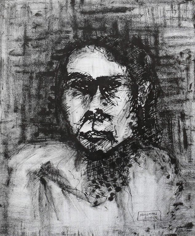 Encre noire sur papier lisse, 40 cm x 50 cm, à partir de modèles vivants