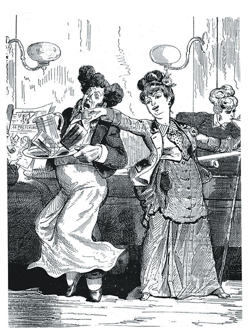 """Le Club des femmes. """"...çon, un verre d'absinthe et ma pipe !"""" Dessin de Lafosse paru dans Le Polichinelle, 1874. Coll. Delahaye."""