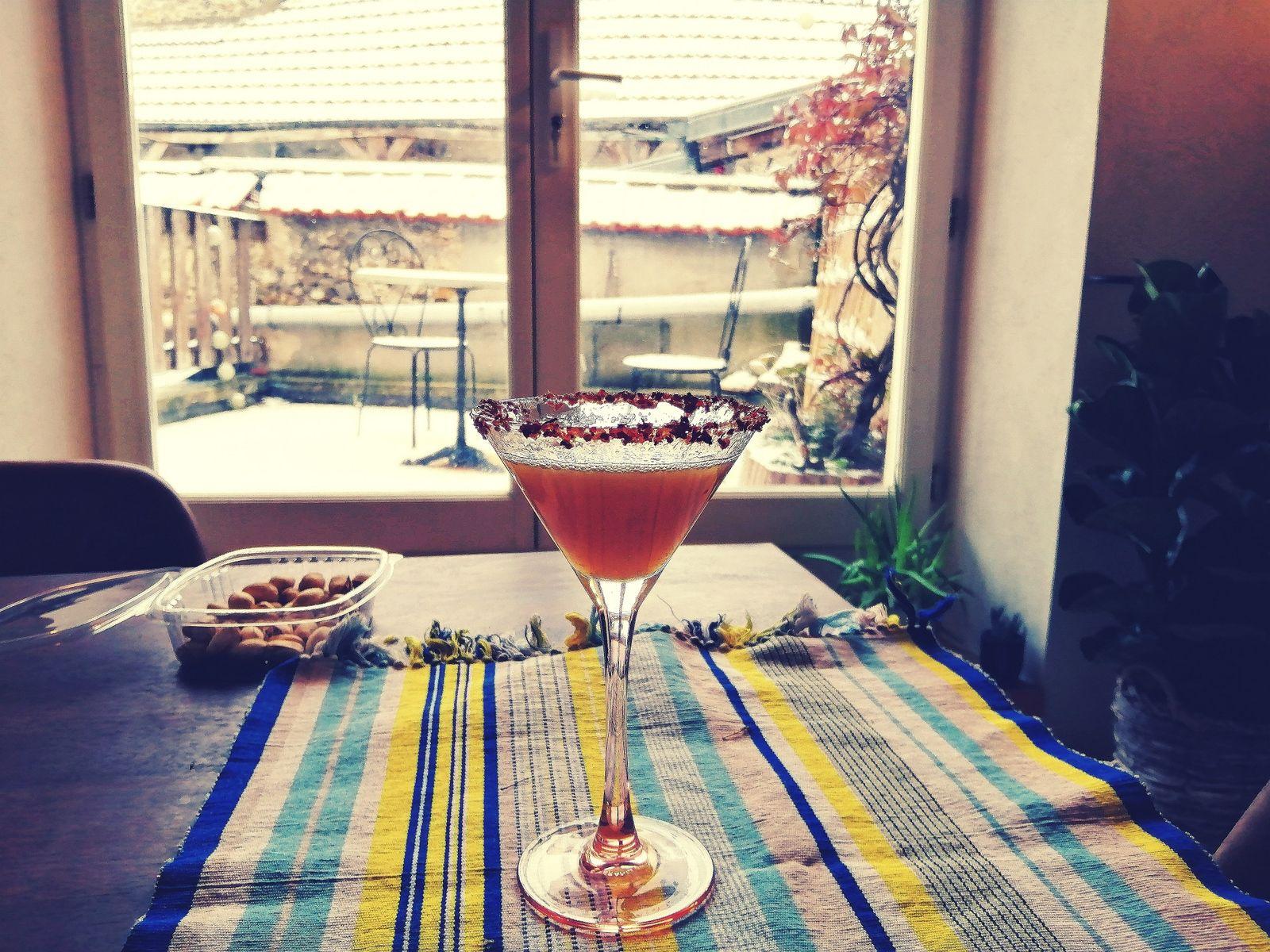 Cocktail rhum, yuzu, bergamote, pimenté