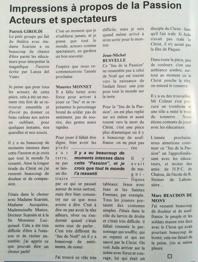 """Page du """"Martiniste"""" édition de l'automne 1995"""