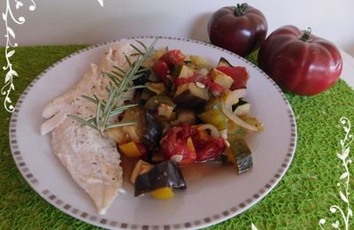 Ratatouille et filet de merlan au Boursin