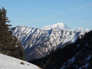 Sentier de l'Aulp de Seythenex, Mont Charvin, Dent de Cons et Mont Blanc, Dents de Lanfon et Lac d'Annecy  le jour de la reconnaissance 06.01.15
