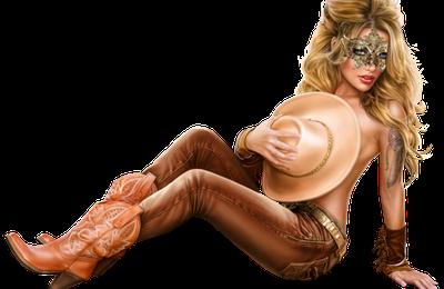 Femme - Blonde - Sexy - Masque - Loup - Chapeaux - Render/Tube - Gratuit