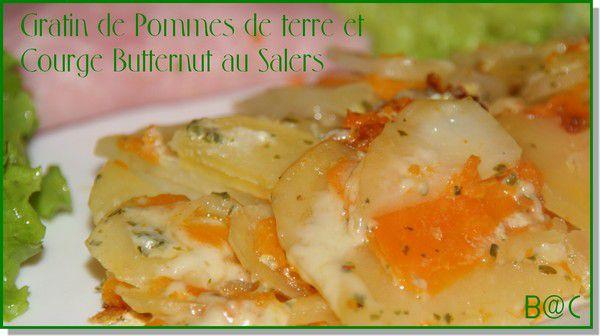Gratin de pommes de terre et courge butternut au Salers