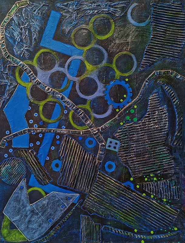 Peinture et collage de Marie-Christine Schmitt