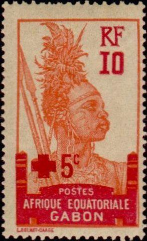 Fig.6: Maroc, 1914, Dahomey, 1915, Côte d'Ivoire, surcharge Croix Rouge sur une valeur en 1915, Gabon 1915: 3 surcharges différentes sur la même valeur, Sénégal, une valeur en 1915, Tunisie: surcharges 1915, 1916 et 1918