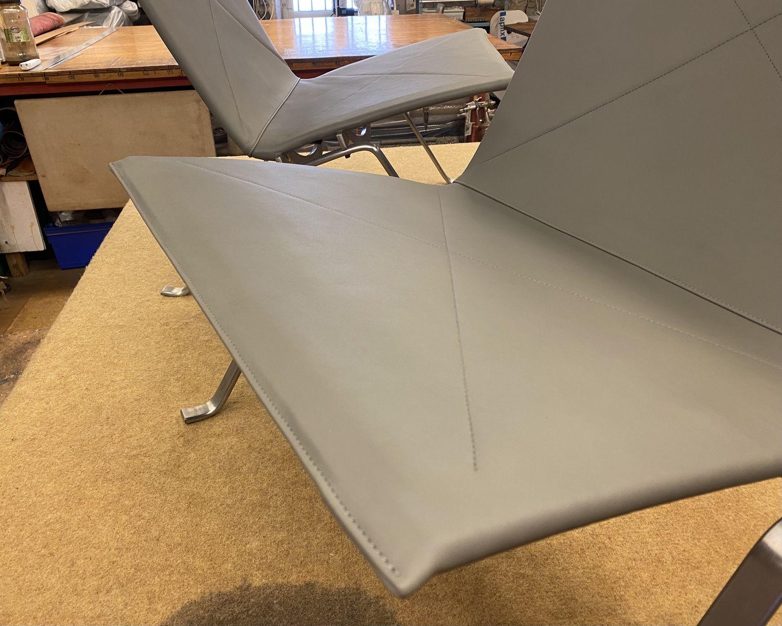réfection totale deux PK22 en cuir aniline - Atelier Hafner tapissier sellier