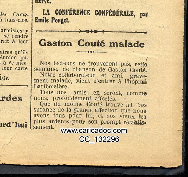 Couté Gaston Couté La Guerre sociale chansons