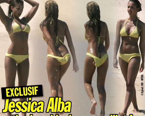 EXCLUSIF / Jessica Alba retire le sable de son maillot !
